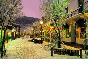 Downtown Queenstown snow New Zealand