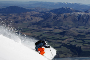 Skier on Mt Hutt Ski Field Canterbury