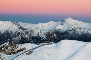 Sunset at Queenstown ski resort New Zealand