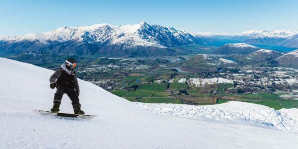 snowboarding in Queenstown, New Zealand